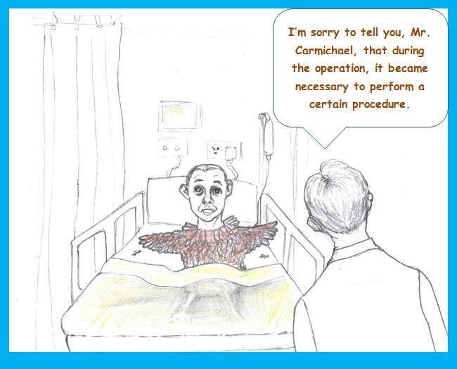 Cartoon of chicken-man after operation