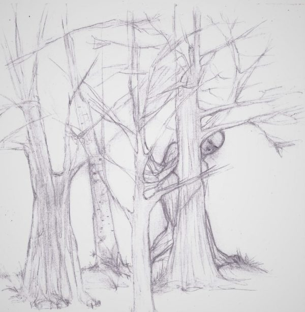 Pencil drawing of trees and figure
