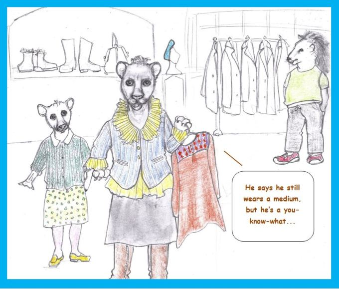 Cartoon of lion shopping