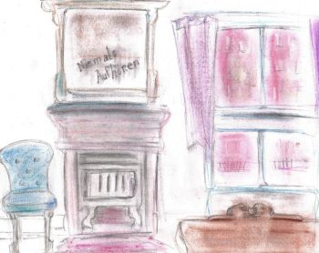 Pastel and pencil drawing of 1930s bedroom