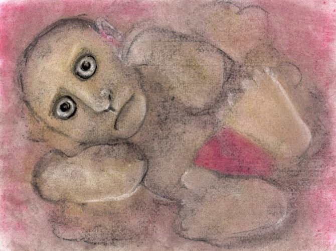 Pastel drawing of baby-like figure with adult face