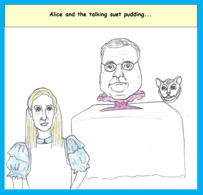 Cartoon of Nancy Pelosi as Alice and Bill Barr as a suet pudding