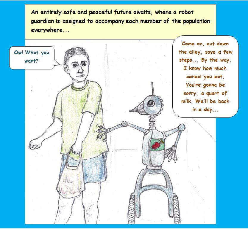 Cartoon of robot and man walking together
