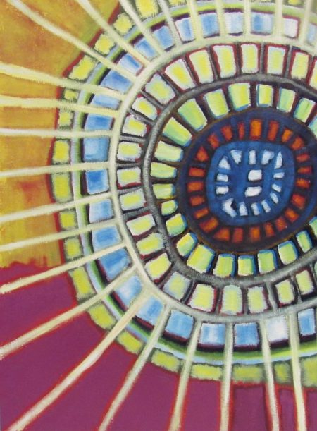 Oil painting of shield-like shape