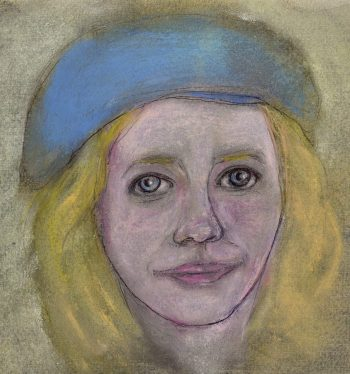 Pastel drawing of blonde woman in blue hat