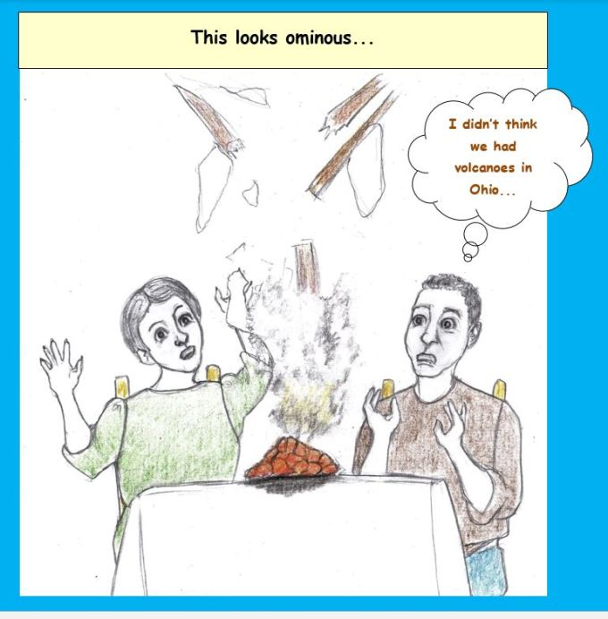 Cartoon of couple with lava chunk on table