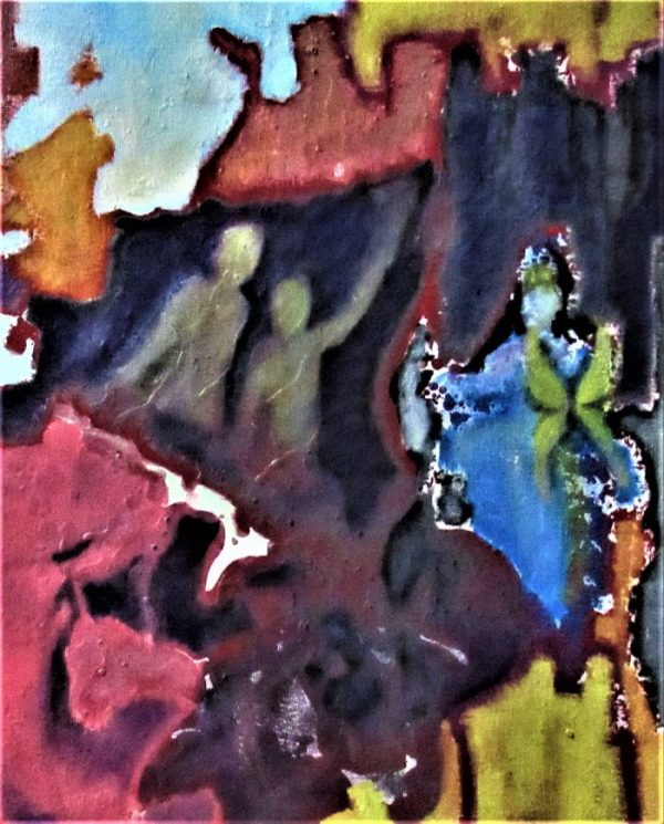 Oil painting of figures in cave-like place