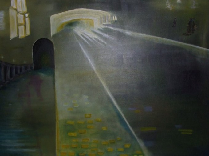 Oil painting of tunnel