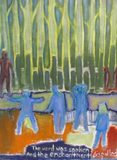 Oil painting of fantasy beings in confrontation