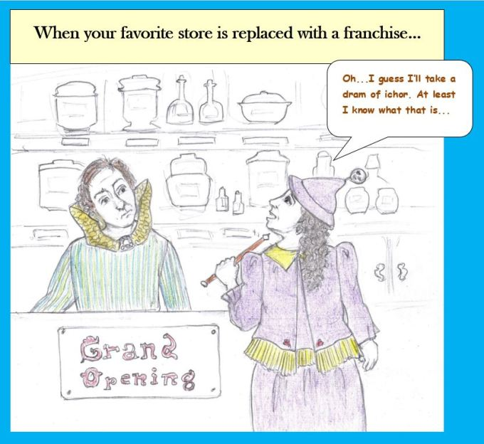 Cartoon of witch shopping at supply store