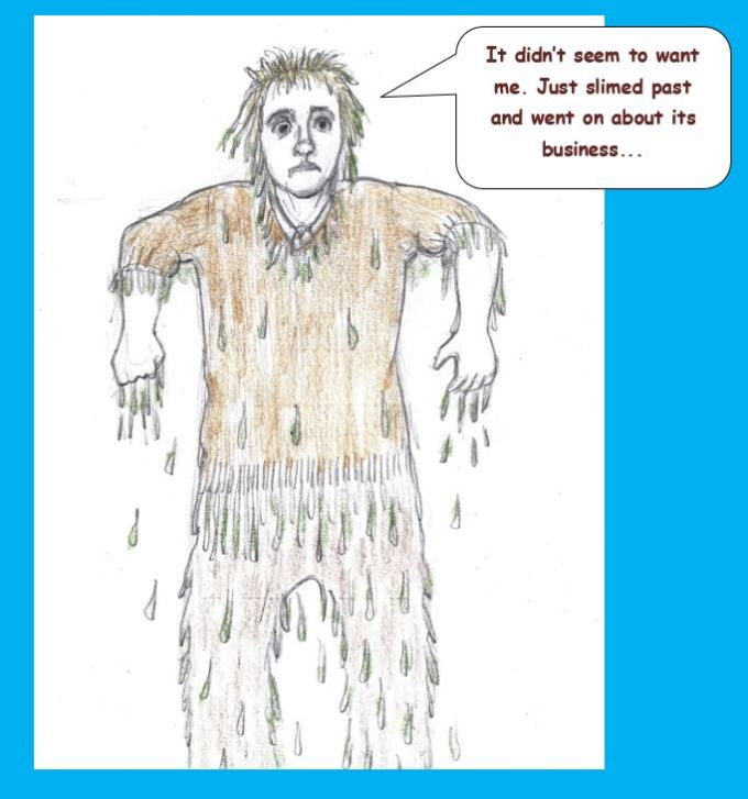 Cartoon of man dripping with slime