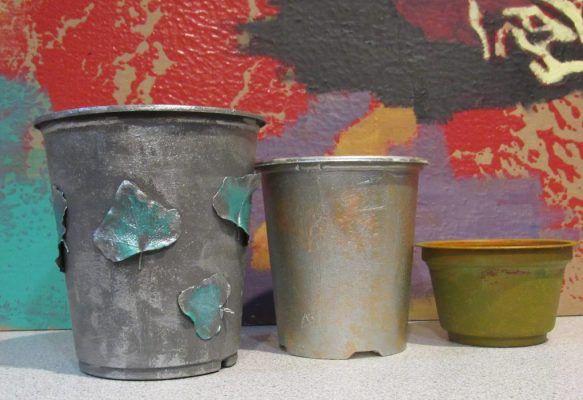 Photo of pots made from upcycled plastic