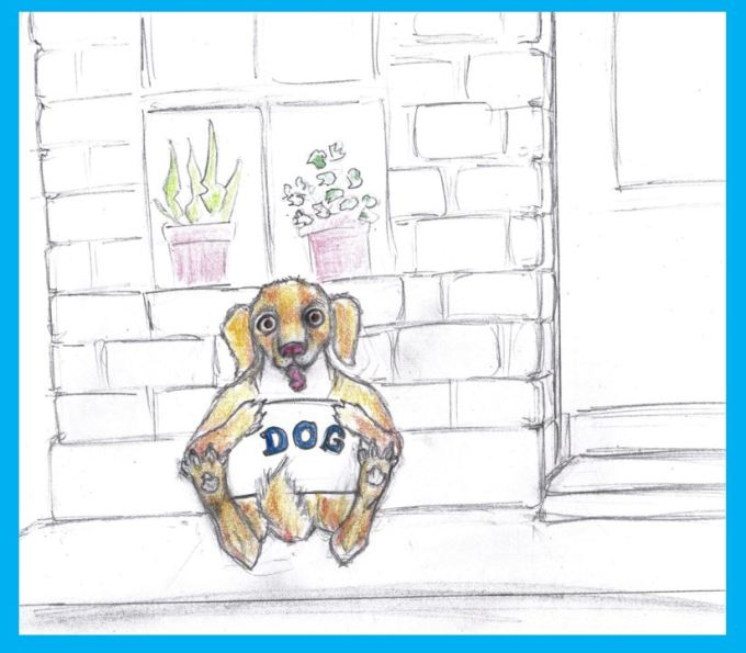 Cartoon of dog down and out