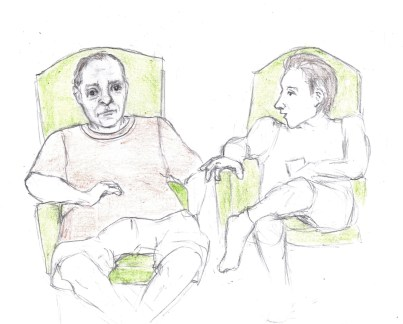 Pencil drawing of two party guests speaking