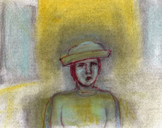 Pastel and pencil drawing of woman at funeral