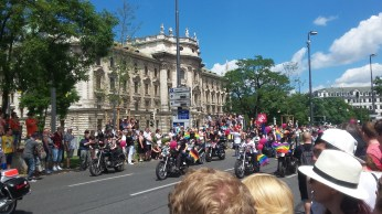 """first group, """"dykes on bikes"""""""