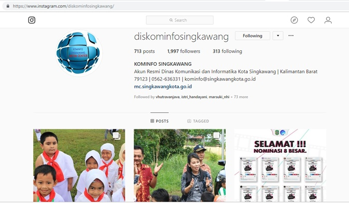 akun instagram dinas komunikasi dan informatika singkawang