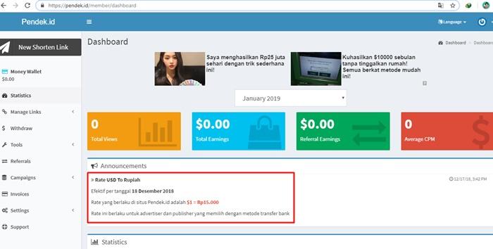 pemendek URL menghasilkan uang Pendek.id