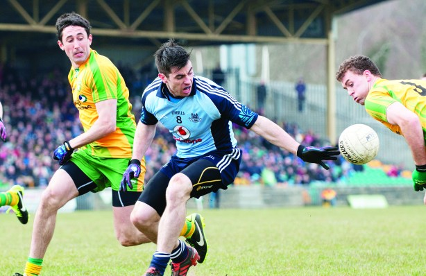 Michael Dara Macauley in league action against Donegal in April. Macauley played a pivotal role in Sunday's All Ireland success.
