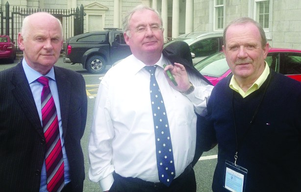 Local councillor Martin Farren, right, met with Minister Pat Rabitte and Senator Jimmy Harte on the future of Greencastle Post Office this week. There is another crunch meeting at the Redcastle Hotel on October 8 next.
