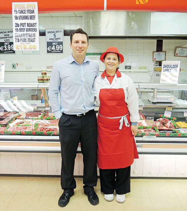 Shane Kelly, manager of JJ Kelly's Supermarket, with Carn's latest Winning Streak contestant, Sheila Smith.