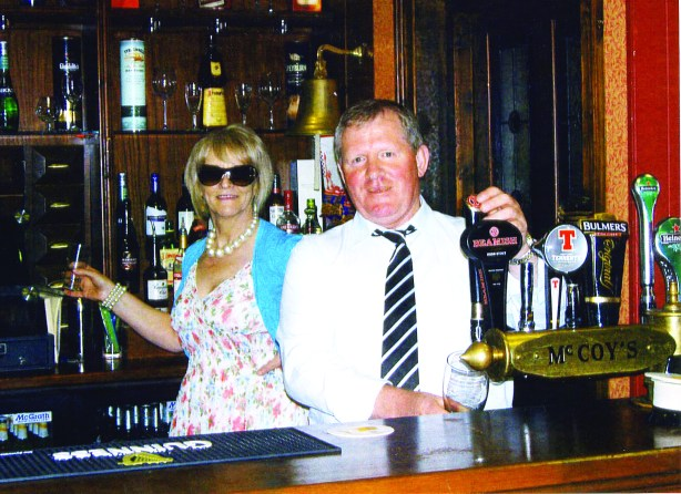 Margaret and Tommy behind the bar at Fair City's McCoy's Bar