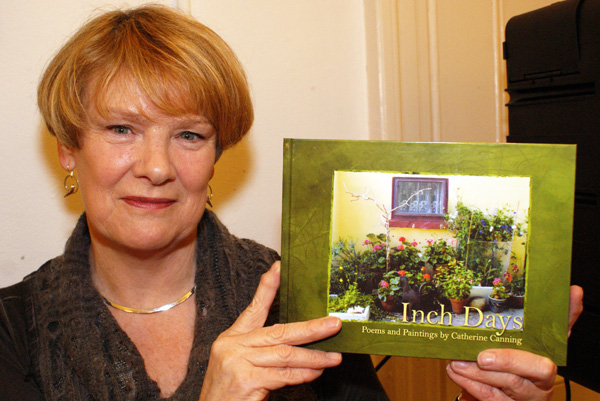 Author Catherine Canning with her new book of poetry and painting, 'Inch Days'.