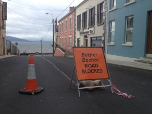 James Street in Moville was closed for 24 hours after slates were blown from a derelict building during high winds on Sunday.