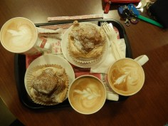 Cream filled pastry buns with coffees at Mr Brown's which we bought just to use their free wifi.