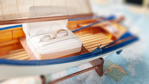 Exemple de mise en scène en adéquation avec l'esprit du mariage dont le thème était autour de la mer