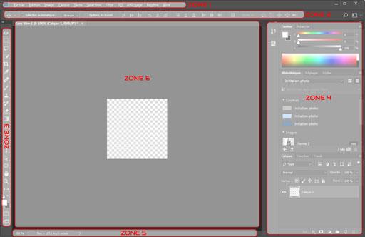 Représentation des différentes zones structurant l'interface de Photoshop.