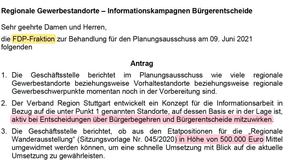 """Region Stuttgart: Mit 500.000 Euro Steuergelder Bürgerentscheid beeinflussen oder mit """"regionalem Bürgerentscheid"""" aushebeln?"""