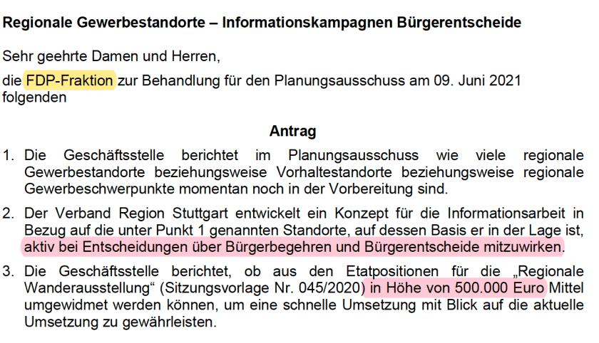 Region Stuttgart Hungerberg Dettingen FDP