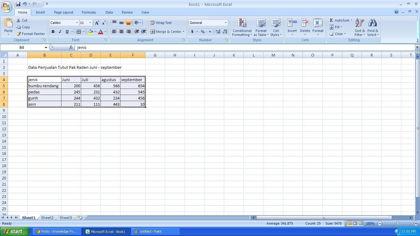 Contoh Grafik Ms Excel