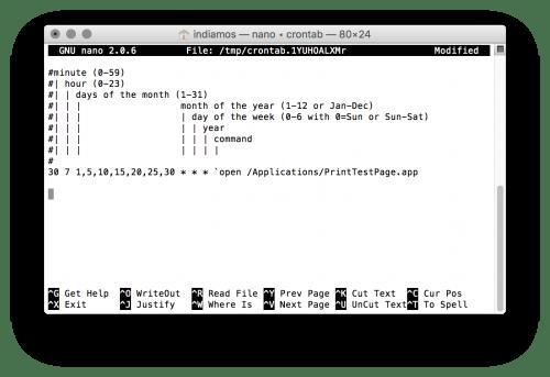 Screenshot of editing window showing a cron command
