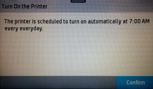 Scheduling screen of an HP Officejet Pro 8720