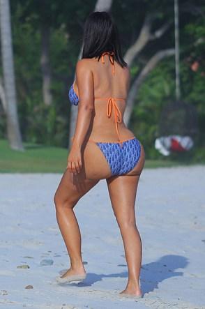 EXCLUSIVE: **PREMIUM EXCLUSIVE RATES APPLY** Kim Kardashian rocks a Dior 2-piece Bikini on the beach while enjoying her all-girls Mexico Vacation at Casa Aramara in Puna Mita