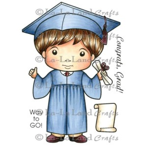 La-La Land Cling Mount Rubber Stamps Graduation Luka