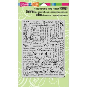 Stampendous Cling Rubber Stamp – Congrats Background