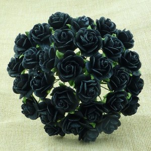 Wild Orchid Crafts Jet Black Mulberry Paper Open Roses