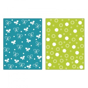 Sizzix Textured Impressions Embossing Folders 2PK – Butterflies & Flowers Set