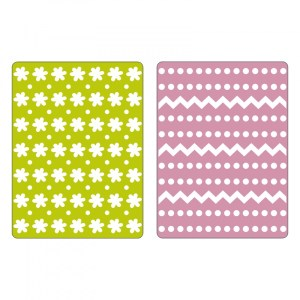 Sizzix Textured Impressions Embossing Folders 2PK – Dots, Zig Zags & Flowers Set