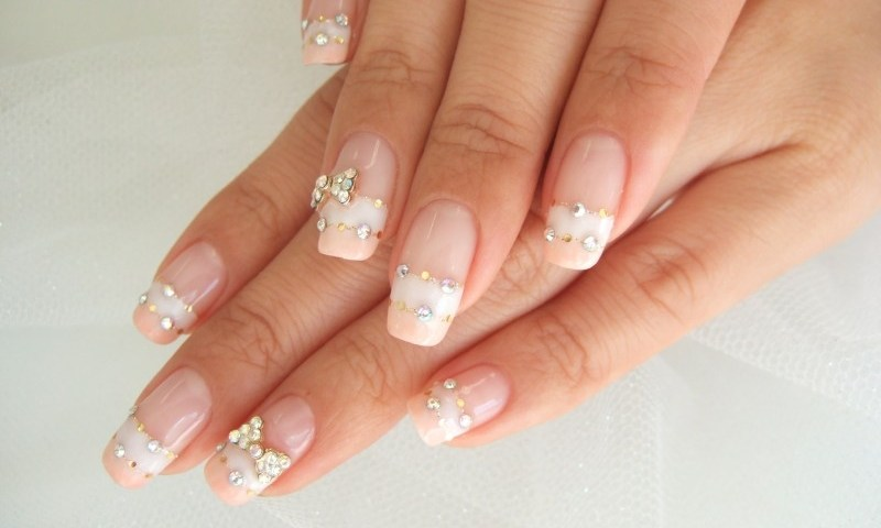French Manicure With Nail Art