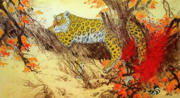 Chinese Leopard Painting 0 4682017, 90cm X 180cm(35〃 X 70〃