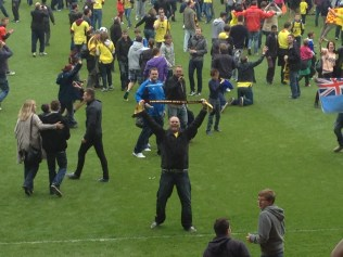 Hubby on the pitch at the end!