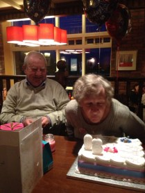 Nan blowing her candle's out!