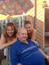 My cousin Nicola and myself with Grandad on his 80th Birthday!