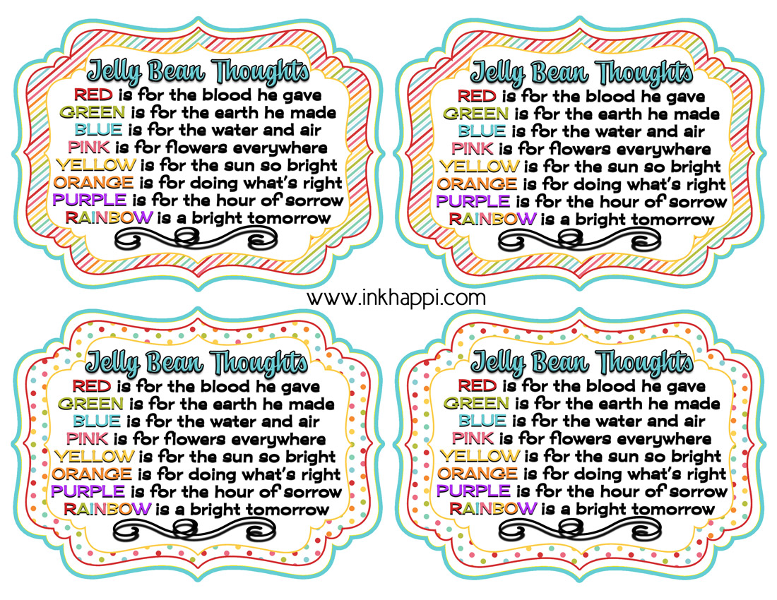Jelly Bean Thoughts For Easter Amp Free Printable T Tags