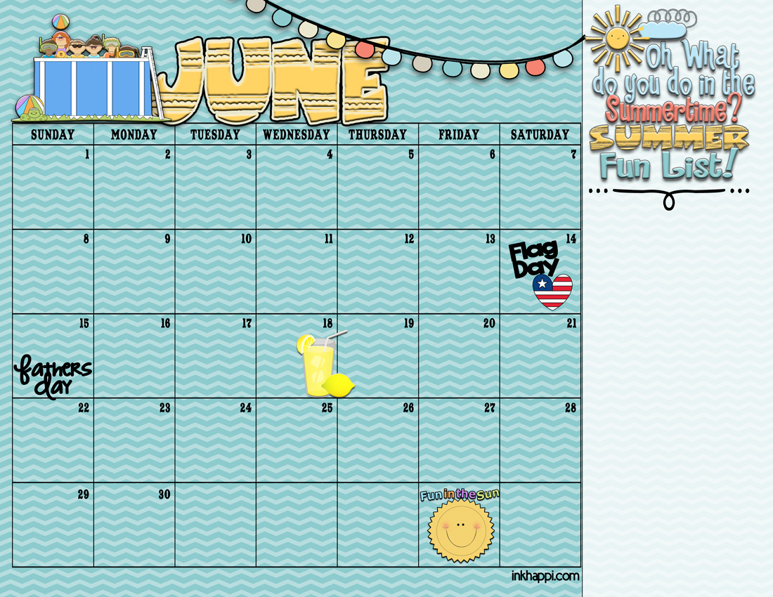 Summer Activities And Free Printable Calendars