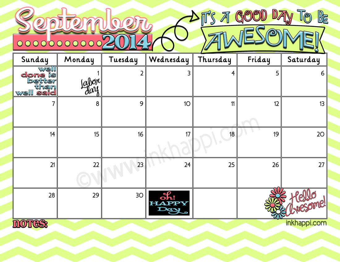 September Calendar S A Good Day To Be Awesome